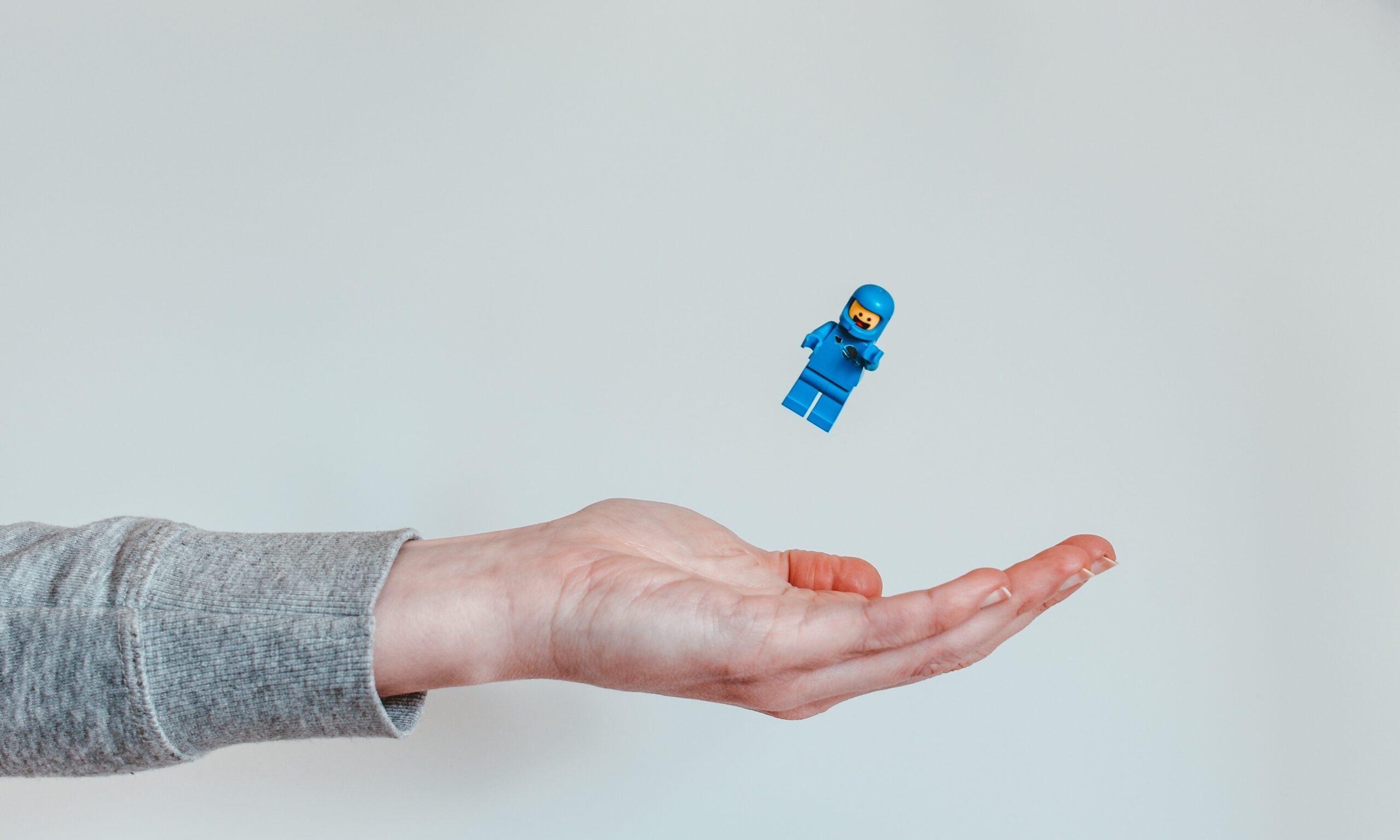 Lego figurine flying